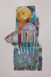 Bird Temple by bronwen coe, Painting, Mixed Media on paper