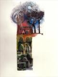 Church topiary by bronwen coe, Painting, Mixed Media on paper
