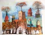 Rescuing the trees 1 by bronwen coe, Painting, Mixed Media on paper