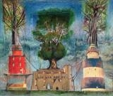 Rescuing the trees 3 by bronwen coe, Painting, Mixed Media on paper